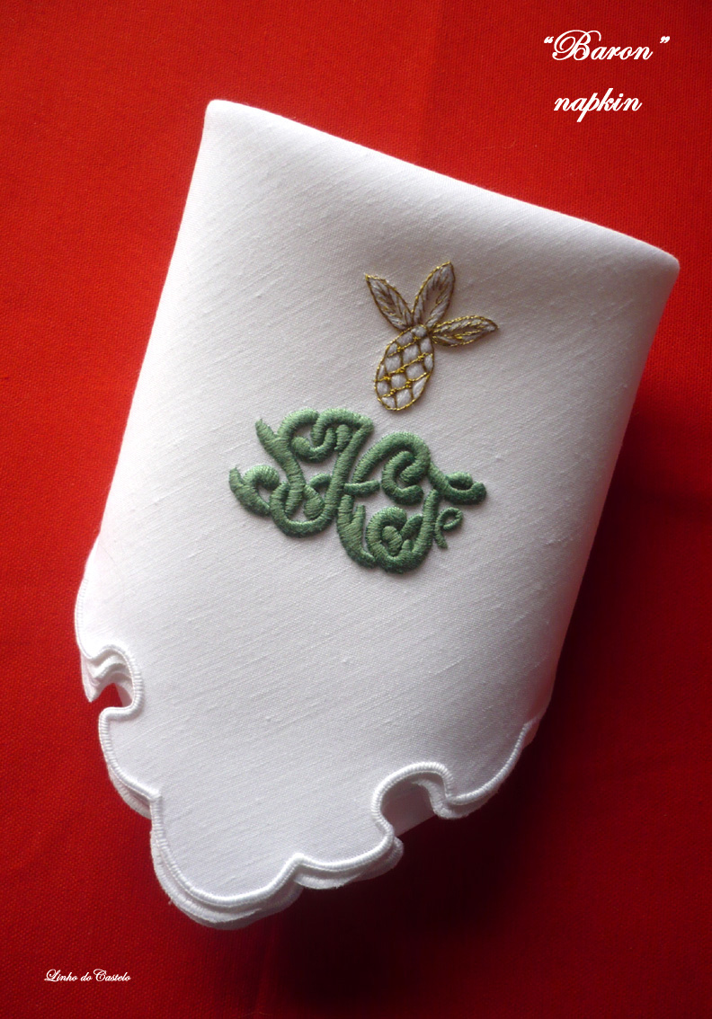 BARON napkin with bespoke monogramming